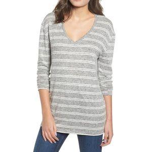 NWT BP. Cozy V-Neck Sweater in Grey Heather Stripe
